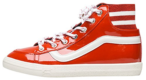 Annakastle Donna Vegan In Vernice Mid Top Sneaker Fashion Trainer Rosso