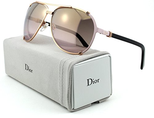 (Christian Dior Chicago 2/S Metal Woman Aviator Sunglasses (Gold Pink Soft Black Frame, Gold Gradient Pink Lens (0HFB)))