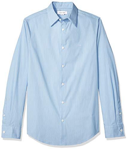 Calvin Klein Men's Stretch Cotton Button Up Shirt, Crystal Sea, - Jewellery Klein Calvin