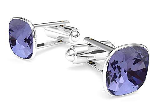 Purple Swarovski Crystal Silver Plated Cufflinks - Beforya Paris - Cufflinks - Tanzanite - 925 Sterling Silver - with SQUARE Swarovski - 925 Sterling Silver Beautiful Men's Cufflinks with Gift Box