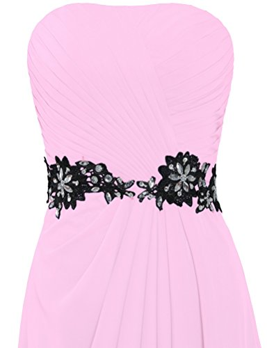 Chiffon Lace Sash Long ANTS Black Evening Women's Pink Dresses Strapless vqwvtXp