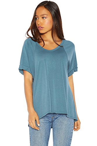 Rohb by Joyce Azria High Line PreRolled Short Sleeve Slouchy High Low Tee Shirt (Teal) Size ()