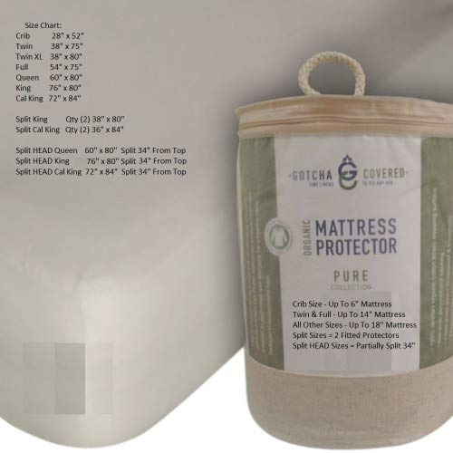 PURE 100% Certified Organic Cotton Jersey Waterproof Mattress Protector (King)