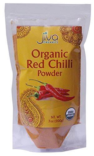 (Organic Red Chilli Powder 7 Ounce - Non GMO Extra Hot Chili - by Jiva Organics)