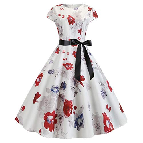 Women's Dress Vintage 1950s Retro Short Sleeve Print Evening Party Gown Prom Swing Dress Retro Cocktail Party Dress White]()