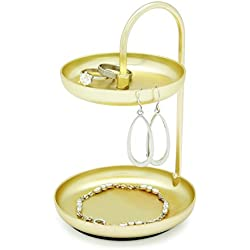 Umbra Poise Small Jewelry Tray, Double Jewelry Tray, Attractive Jewelry Storage You Can Leave Out, Two-Tiered Jewelry Tray, Matte Brass Finish
