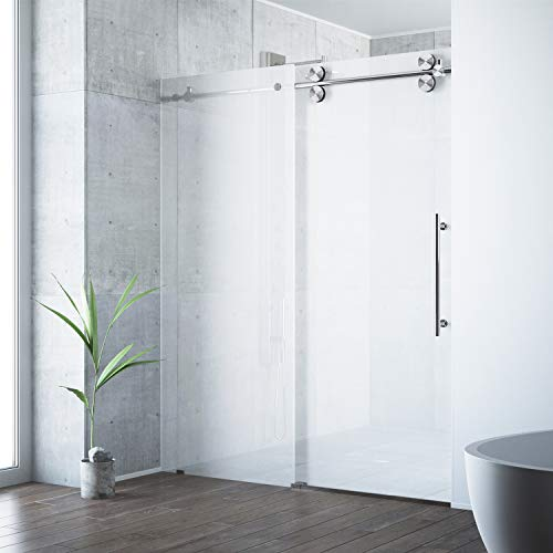 "VIGO VG6041STMT6074R Elan 56 – 60 Inch Right Sliding Frameless Shower Door with 3/8"" Frosted Glass and 304 Stainless Steel Hardware, in Stainless Steel Finish"