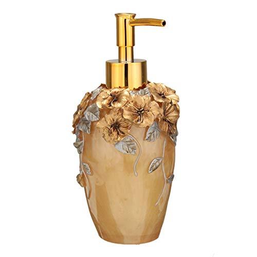 (350ml Bathroom Resin Hand Pump Liquid Soap Dispenser Exquisite Hotel Lotion Shampoo Bottle Dispenser (Color : Gold, Size : 350ML) )