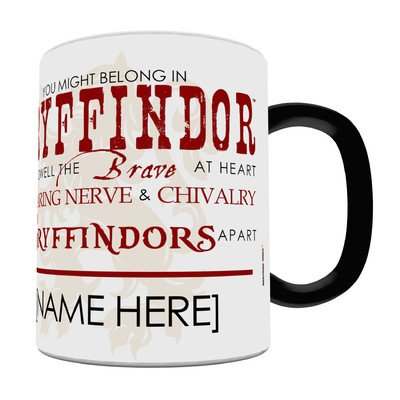 (Morphing Mugs Personalized Harry Potter Gryffindor Sorting Hat Heat Reveal Ceramic Coffee Mug - 11 Ounces - ADD YOUR OWN NAME TO YOUR HOGWARTS)