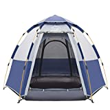 Toogh 4 Person Camping Tent 3 Seasons Backpacking Tents Hexagon Sun Dome Automatic Pop-Up Outdoor Sports Tent