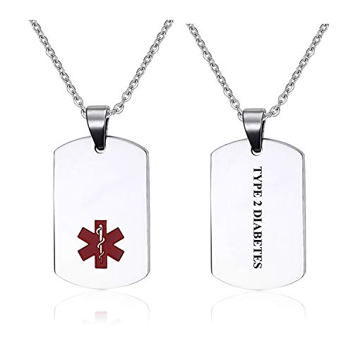 - Type 2 Diabetes Stainless Steel Emergency Medical Alert ID Dog Tag Pendant Necklace for Men & Women