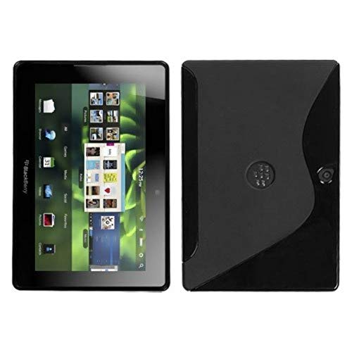 Insten S Shape TPU Rubber Candy Skin Case Cover Compatible with BlackBerry Playbook, Black