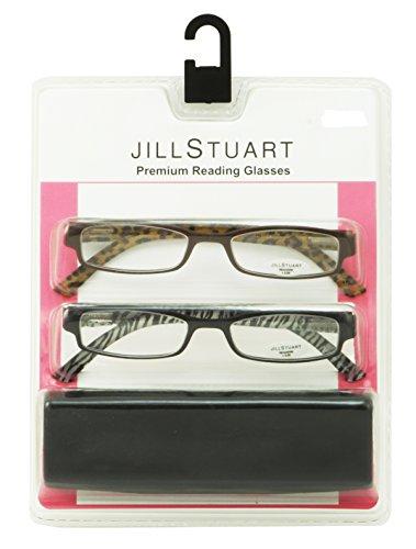 Jill Stuart Womens 2 Pack Plastic Reading Glasses +2.5 Black/Brown JS004, Includes Jill Stuart Hard Fashion - Glasses Jill Stuart