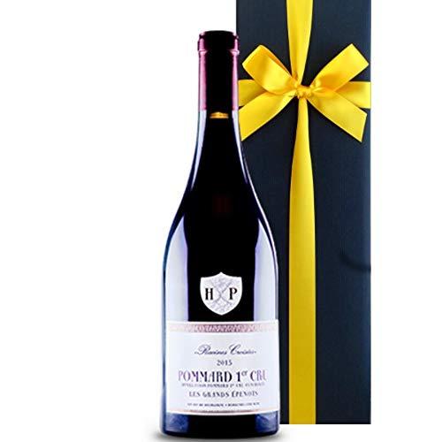 ワインギフト 赤 フランス ブルゴーニュ コートドボーヌ ポマールプルミエクリュ ピノノワール 2015年 リボン包装 箱入り B07H5HH468 ギフトラッピング付き 黒ボックス赤リボン