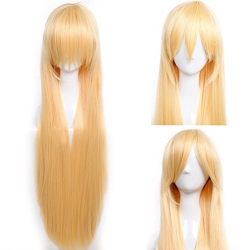 (S-noilite Cosplay Wigs 40 Inch Long Straight Synthetic Unisex Costume Wig with Bangs and Cap - Golden Blonde)