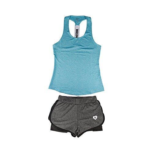 Good-Memories New Women Yoga Sport Suit Summer Outdoor Perspiration Wicking Sportswear,Pink,M