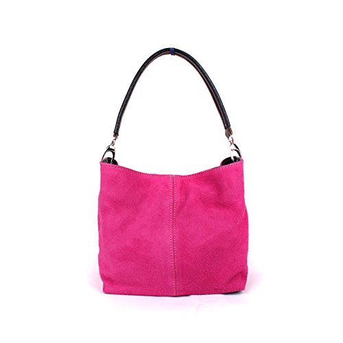 Tote Suede Slouch Ladies Pink Handbag Hobo Hot Bag Italian Medium Aossta Shoulder Leather Real pq8vwA