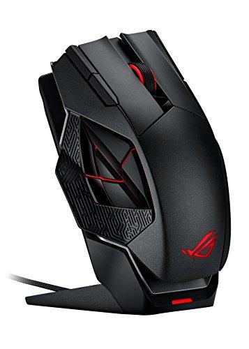 Asus ROG Spatha Gaming Maus (8.200 DPI, 12 programmierbare Tasten, kabelgebunden und kabellos nutzbar) schwarz/rot