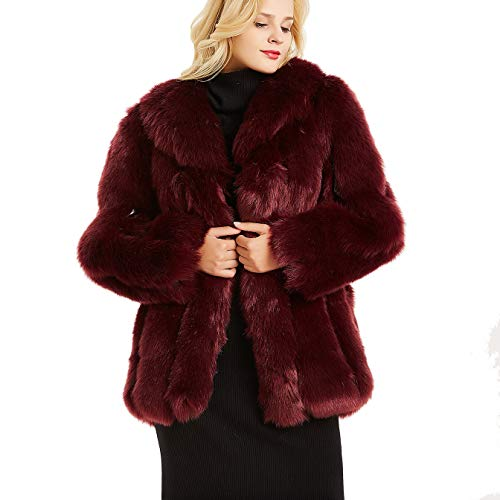 Faux Silk Jacket - Rvxigzvi Womens Faux Fur Coat Parka Jacket Long Trench Winter Warm Tops Outerwear Overcoat Plus Size M-4XL (Wine Red, M)
