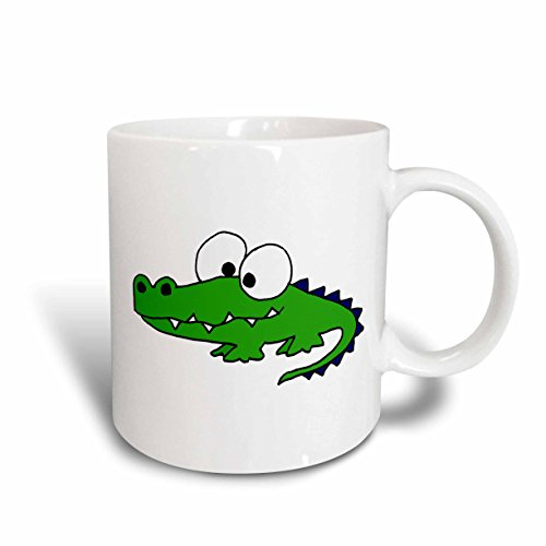 3dRose mug_195268_1 Funky Green Alligator Ceramic Mug, 11-Ounce