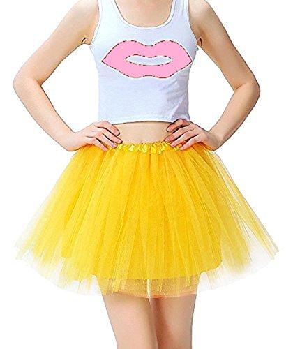 COCOPLAZA Women's Classic 3-Layered Tulle Tutu Skirt Elastic Ballerina Costume Party Dance Dress (Yellow)
