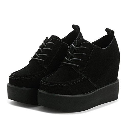 Giy Damesmode Lage Sneaker Dikke Bodem Verhoogde Hoogte Platform Wedge Casual Sportschoenen Zwart Zonder Pelsvoering