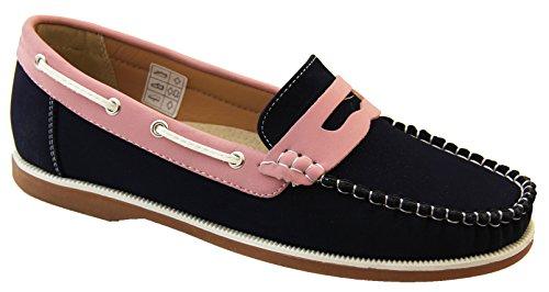 Footwear Studio Shoreside Womens Moccasin Loafers Deck Shoes Navy/Pink soPGWJJyGL