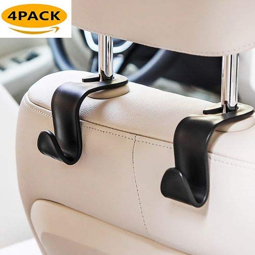 Ez Coupon Organizer - Car Vehicle Back Seat Headrest Hooks Hangers for Grocery Bags Purse and Handbag 4-Pack