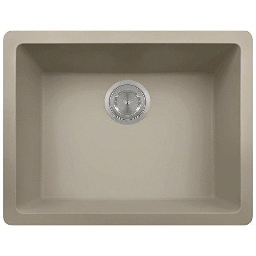 808 Dual-mount Single Bowl Quartz Kitchen Sink, Slate, No Additional Accessories