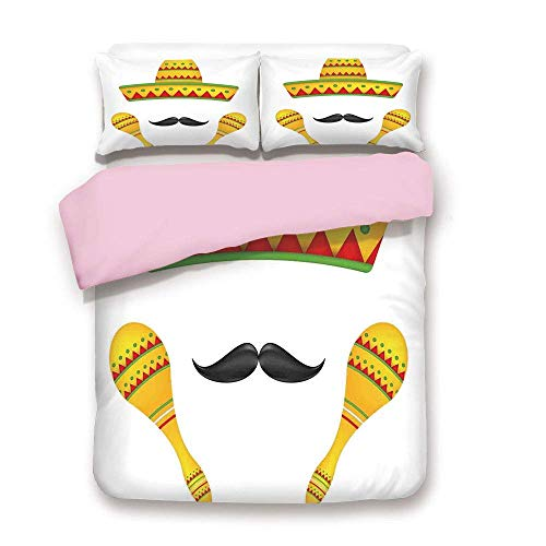 ALLMILL Pink Duvet Cover Set/Twin Size/Famous Centerpiece Icons Sombrero Moustache Rumba Shaker Mesoamerican Image/Decorative 3 Piece Bedding Set with 2 Pillow Sham/Best Gift for Girls Women/Yellow