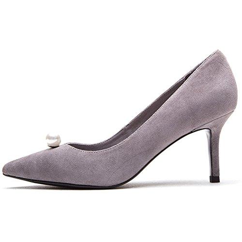 Profond Sunny Talon Peu Printemps De Bouche Nouveau Hauts Amende H04W7313 Et Perle Talons Gray Chaussure Automne Mesdames PrwPq1