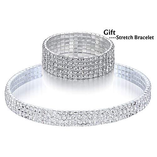 SL SweetLove Clear Rhinestone Choker 3 Rows Crystal Collar Necklace 3.9