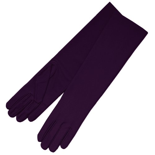 ZaZa Bridal 4-Way Stretch Matte Finish Satin Dress Gloves Below-The-Elbow Length-Plum