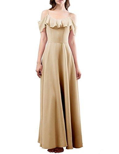 DRESSTELLS Long Bridesmaid Dress Spaghetti Straps Flouncing Chiffon A Line Prom Dresses Champagne Size 4