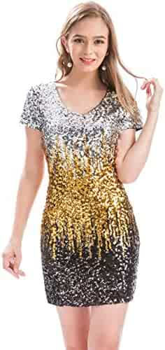 ecc4114f95c MANER Women s Sequin Glitter Short Sleeve Dress Sexy V Neck Mini Party Club  Bodycon Gowns