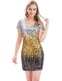 Women s Sequin Glitter Short Sleeve Dress Sexy V Neck Mini Party Club Bodycon  Gowns c9dead2cb545