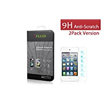 iFlash® 2 Pack of Premium Tempered Glass Screen Protector For Apple iPod Touch 4th Generation - Protect Your Screen from Scratches and Bubble Free - Maximize Your Resale Value - 99.99% Clarity and Touchscreen Accuracy (2Pack, Retail Package)