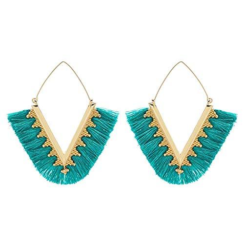 Aqua Statement Tassel Earrings V Shaped Fan Fringe Bohemian Summer Drop Dangle Earrings for Women