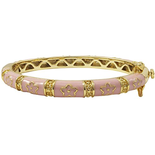 Ivy and Max Gold Finish Light Pink Enamel Flowers Girls Bangle Bracelet (42 mm: Age 1-6 Years)