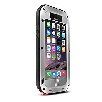 Carcasa integral rígida de metal y aluminio, resistente al agua, a prueba de golpes, con Gorilla Glass para iPhone 6 y 6s de 4,7 pulgadas, compatible ...