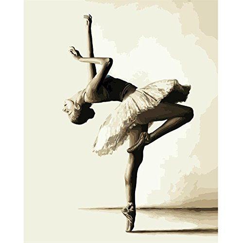 DIY Oil Paint by Number Kit for Adults Beginner 16x20 inch - Skilful Ballet Dancer,Drawing with Brushes Christmas Decor Decorations Gifts (Framed)