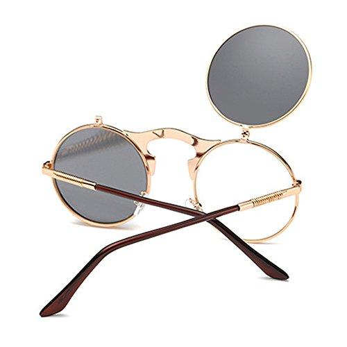 Steampunk Flip Monture métal UV400 Copper Style Verres en Rond gris lunettes Frame soleil Nouveau Couleurs 8 Up Spectacles HuaYang de Mirror 1OUYtqn
