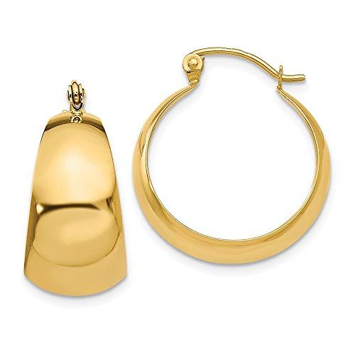 14k Gold Polished 10.5mm Tapered Hoop Earrings (0.55 in x 0.39 in)