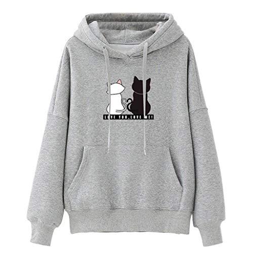 LEXUPA Women Hoodies Casual Sweatshirt Winter Ladies Baggy Cat print Jumper Pullover Tops(Gray,X-Large)