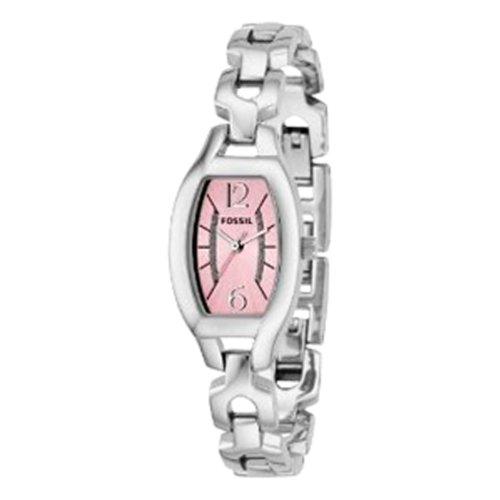 Fossil Women's ES2375 Linked Stainless Steel Bracelet Pink Analog Dial Watch