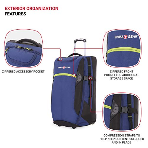 SWISSGEAR Extra-Large Lightweight Rolling Duffel | 8-Day Capacity Wheeled, Soft-Shell Luggage | Men's and Women's - Blue/Green