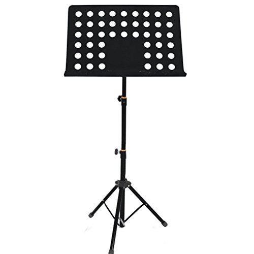 ROSENICE Atril musica thickended orquesta plegable 50-165cm ajustable Sinfonía (negro oscuro)