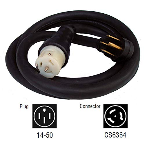 Generac 6390 50-Foot 50-Amp Generator Cord with NEMA 1450 Male End and CS6364 Female Locking End by Generac