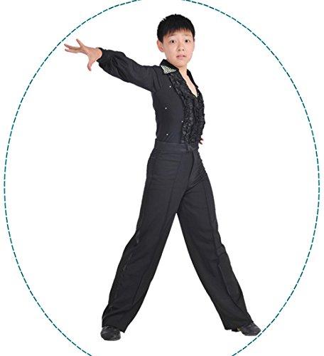 Gydoxy(TM) Children Ballroom Latin Dance Costumes Boys Classical Latin Samba Tango Dance Shirt Black White Blue Latin Costumes