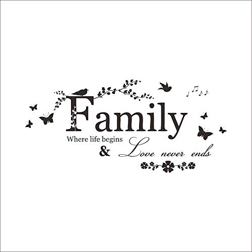 Potelin Wall Decor Stickers Quotes Love Never Ends Flower Family Quote Wall Stickers Vinyl Decals by Potelin